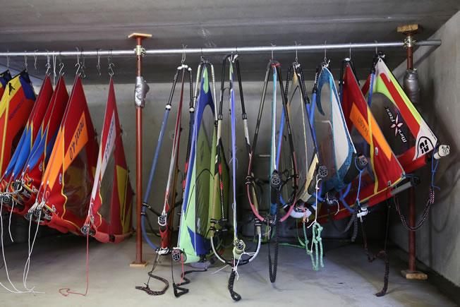 sail rack for a windsurf holiday