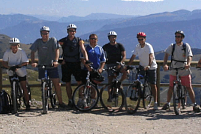 Activity holiday group on mountain bike excursion