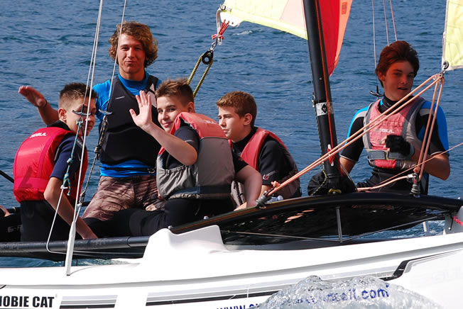 sailing holiday group in catamaran