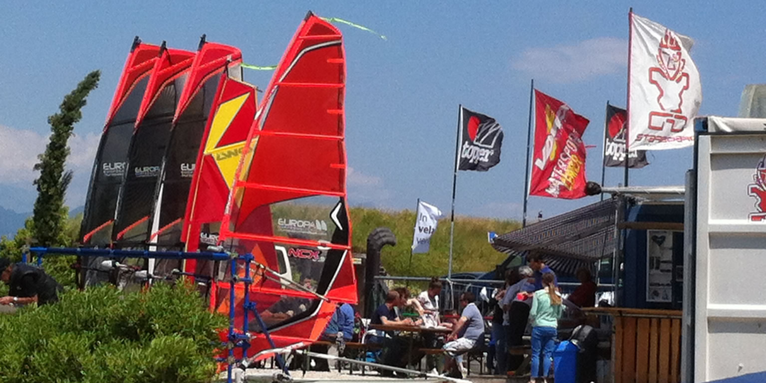 equipment ready for windsurfing on lake garda
