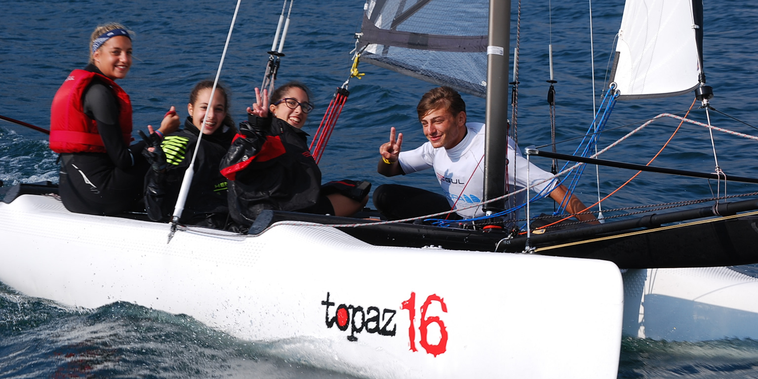 Students in Topaz 16 catamaran