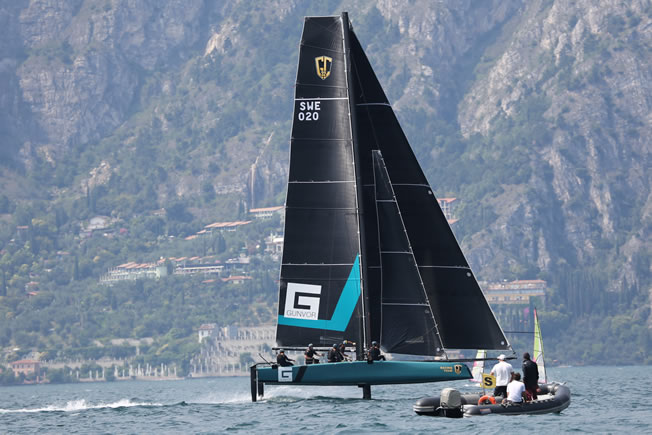 GC32 foiling catamarans on Lake Garda