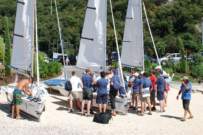 work group preparing for a regatta